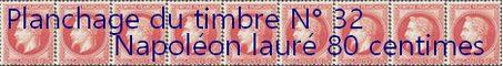 Toutes les informations nécessaires au planchage du timbre 20 centimes Napoléon lauré n° 32